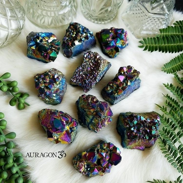 Rainbow Aura Amethyst clusters  - auragon   ello