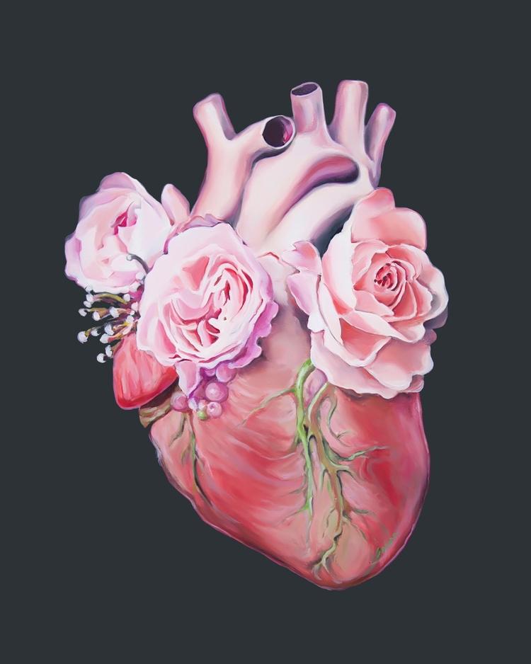 Floral Heart II, oil painting 2 - trishathompsonadams | ello