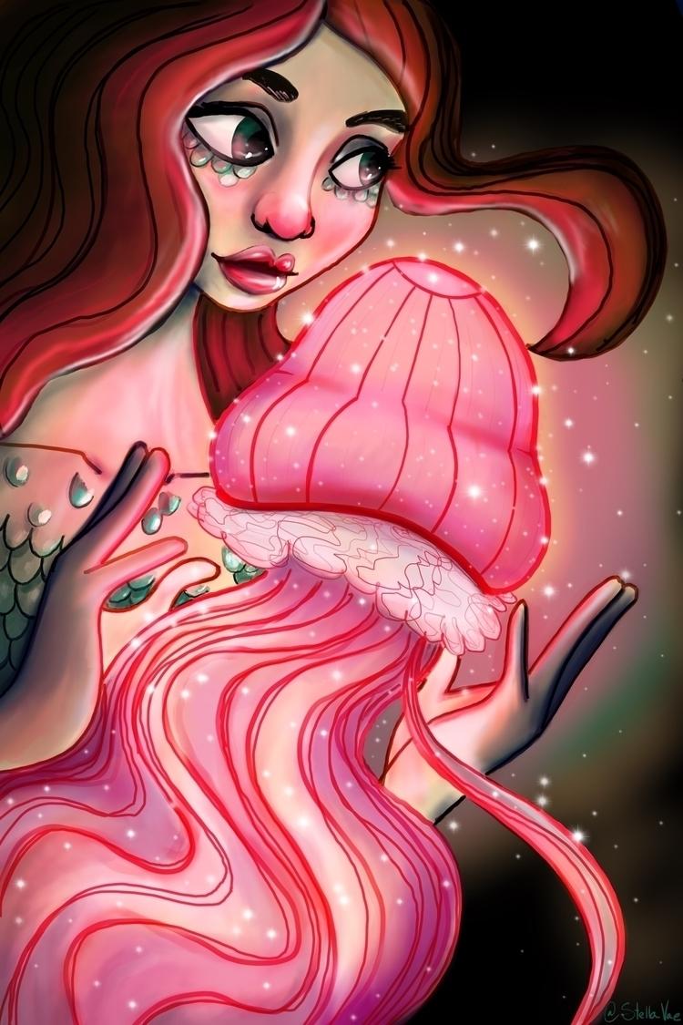 mermaid glowing pink jellyfish  - stellavae | ello