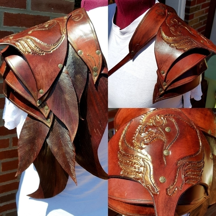 Leather shoulder armor, highly  - wanderinglost | ello