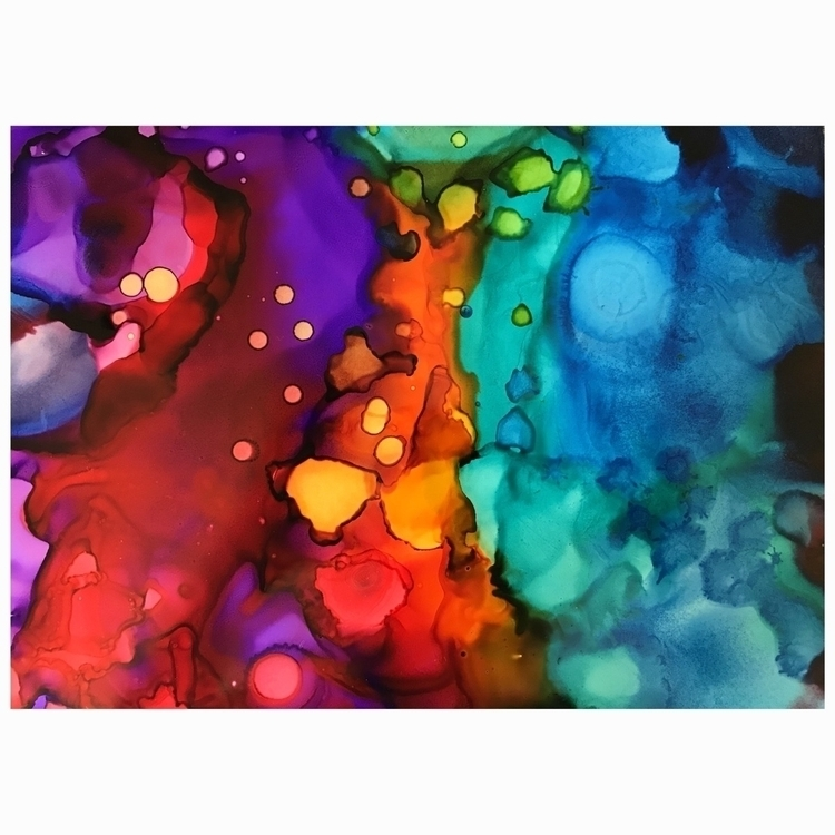 8x10 Alcohol ink painting gift  - meltedtheory | ello