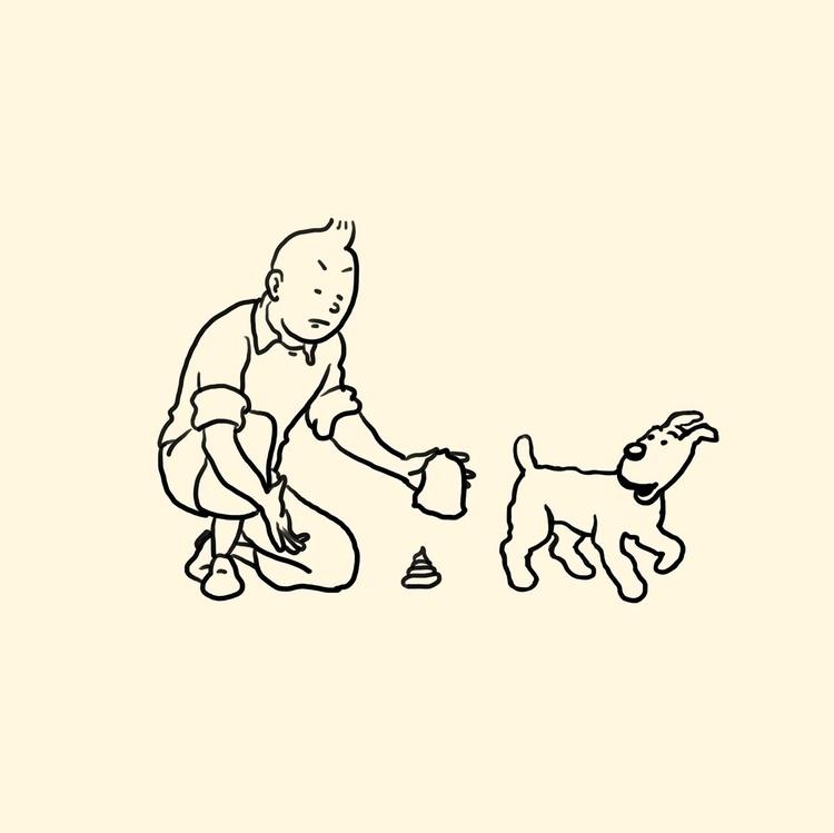 shit dogs - tintin, illustration - stefanvanzoggel | ello