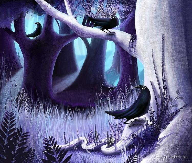 Ostragon Woodlands Bright Raven - littlebunnysunshine   ello