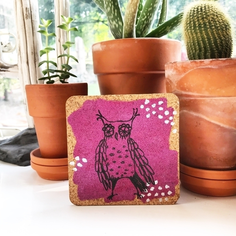 coaster sets works! love owls - handpainted - highyieldstudio | ello