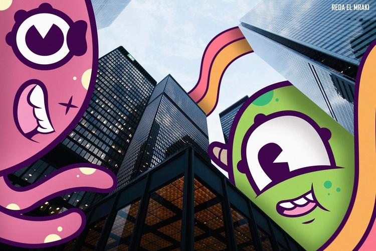 Monsters city - gif, animation, illustration - redaelmraki | ello