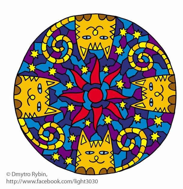 Mandala 4 cats. Hand drawing co - dmytroua | ello