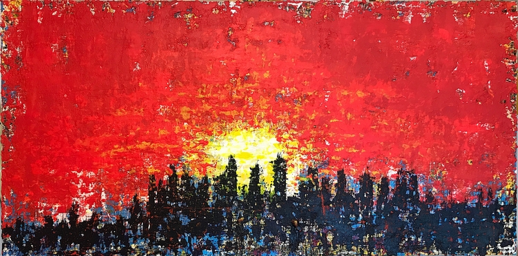 "sunset 48""x24"" 2017 acrylic can - nuisms 