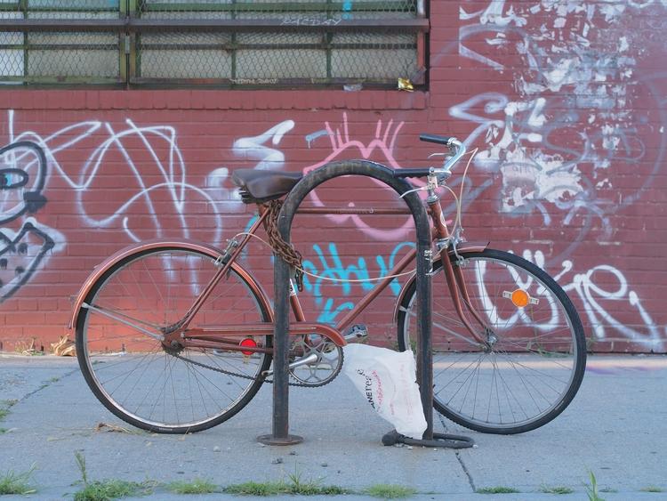 Brown, Bike, Bag, Brick, Bushwi - nycsteelponies | ello