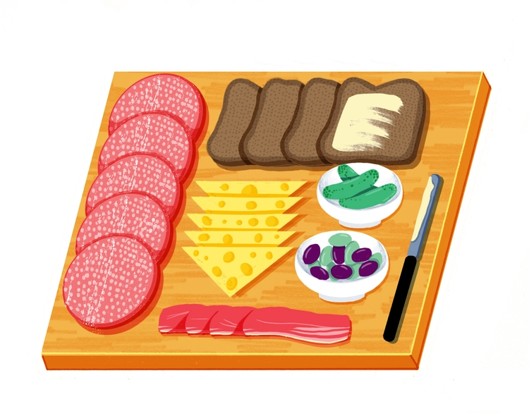 charcuterie - illustration, food - mikedriver | ello