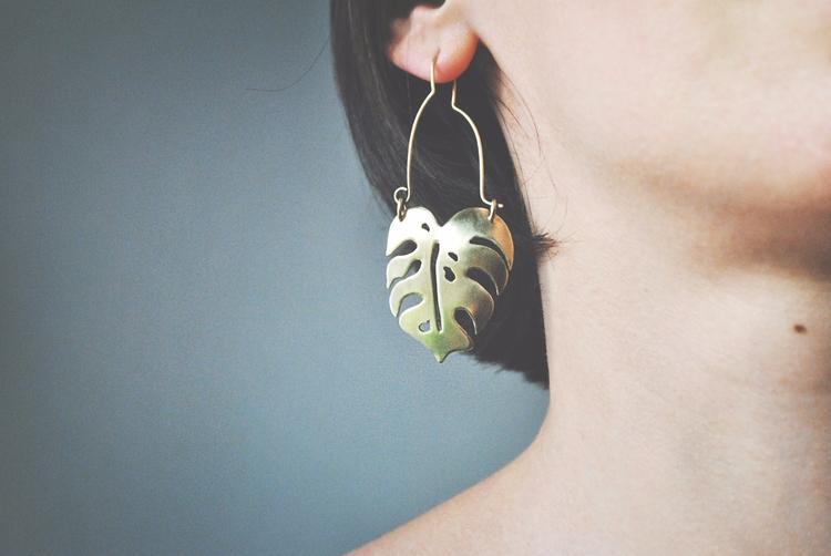 Brass Monstera leaf funky ear w - twistedjewelry | ello