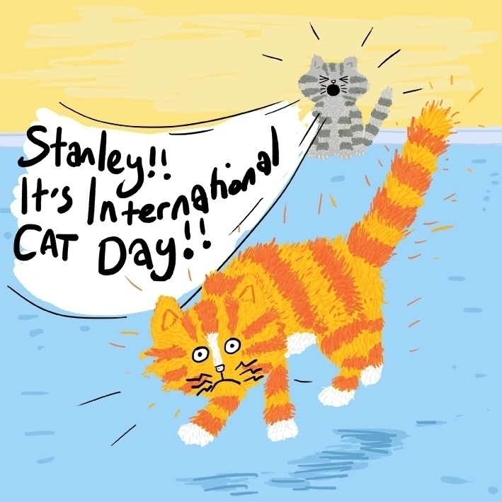 yesterday! Hooray - internationalcatday - rellis | ello
