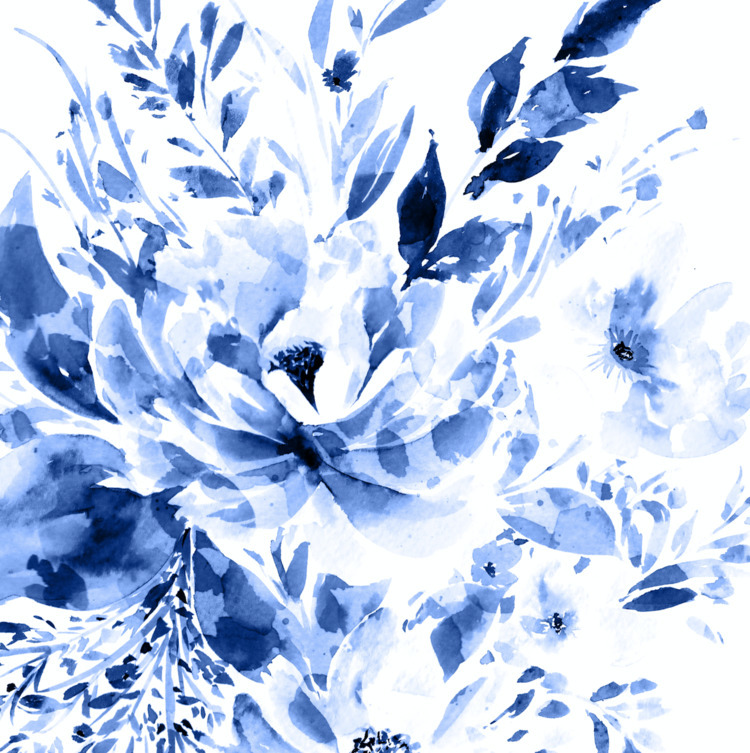 Blue Bloom - watercolor, floral - gabrielafuente | ello