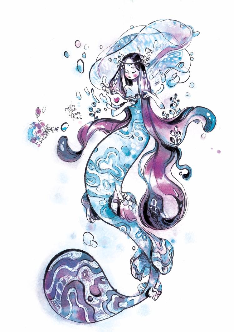 mermay2017, mermaid, mermay, watercolour - sillyjellie   ello