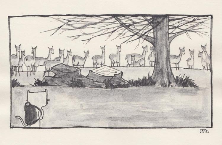 story - watercolour, graphite, illustration - catsac | ello