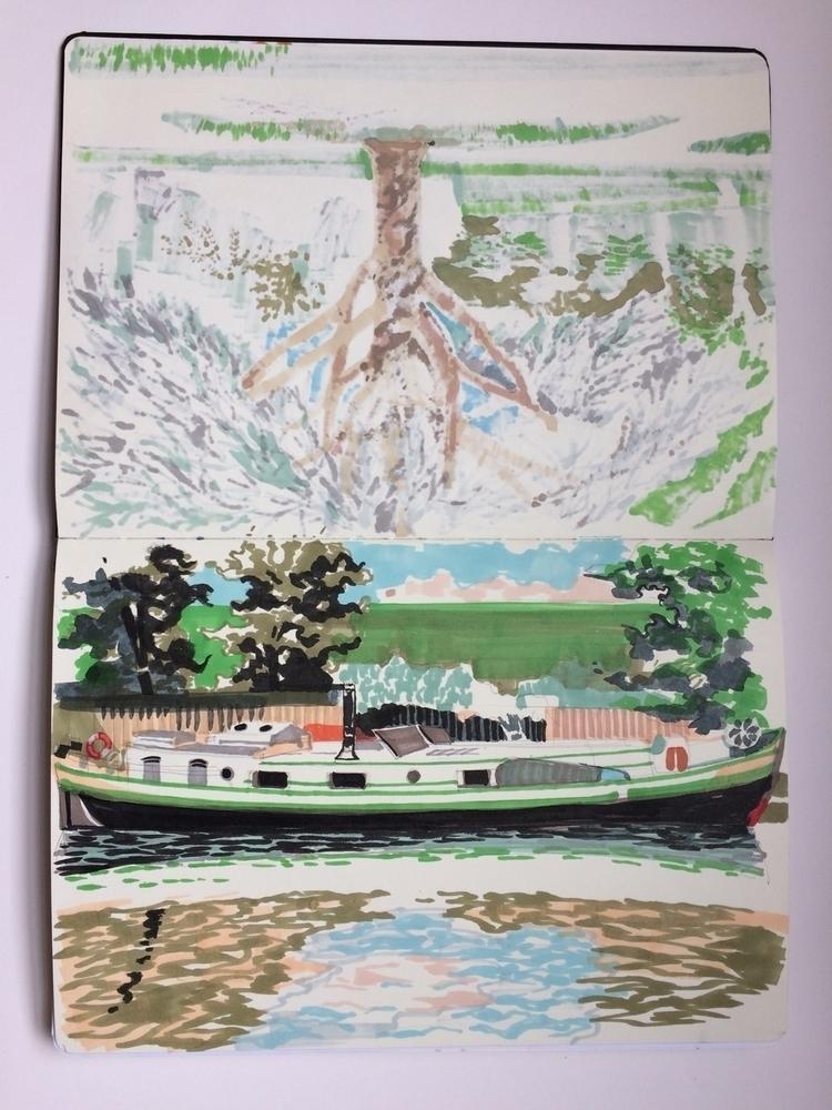 pages sketchbook. drawn river L - alexgreendraws | ello