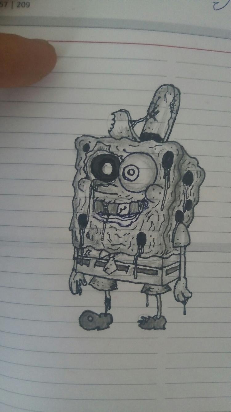 zombie spongebob - elloart, draw - darkgoath13 | ello