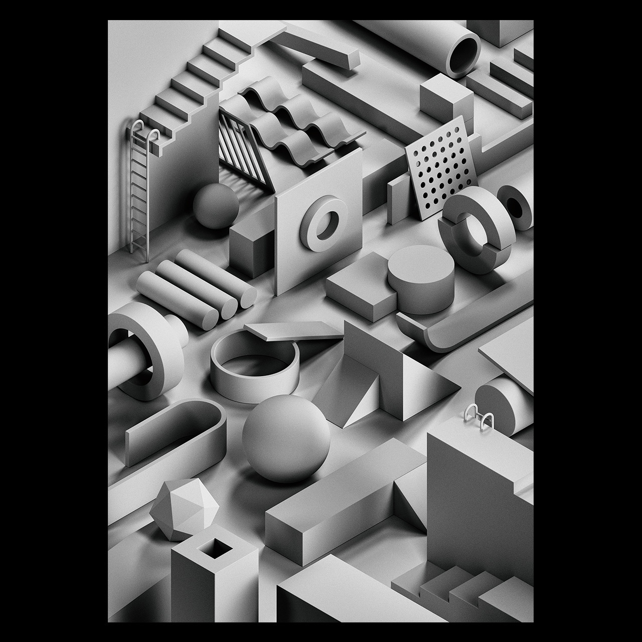 Noir - 3d, illustration, isometric - serafimmendes | ello
