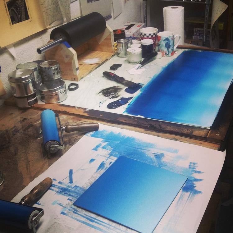Blending blue monoprints - icworksonpaper - is_cross | ello