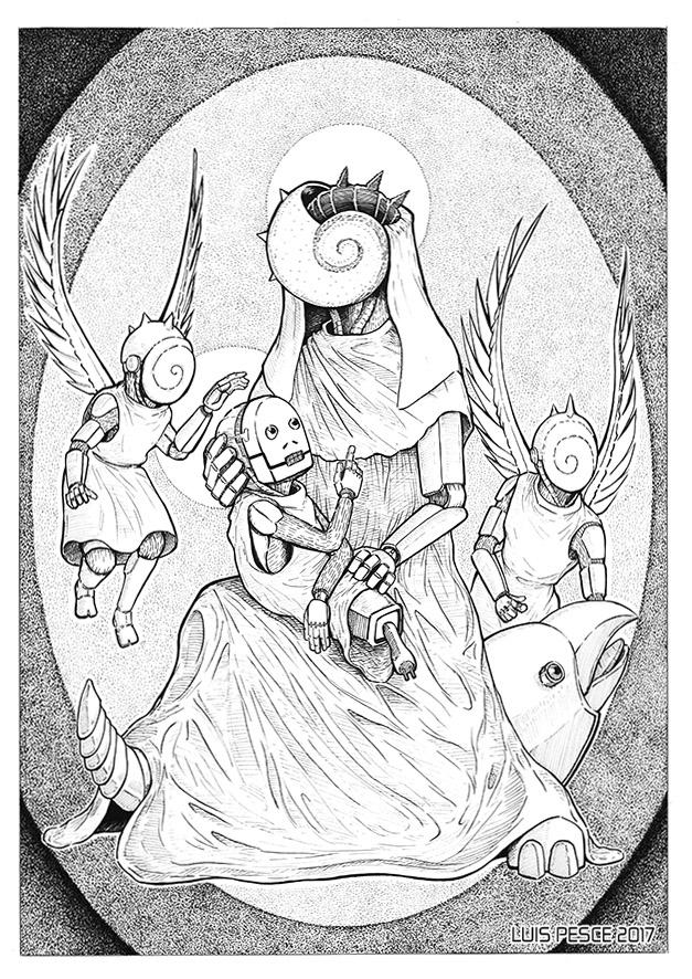 04 - Virgen con niño - art, robot - luispesce | ello