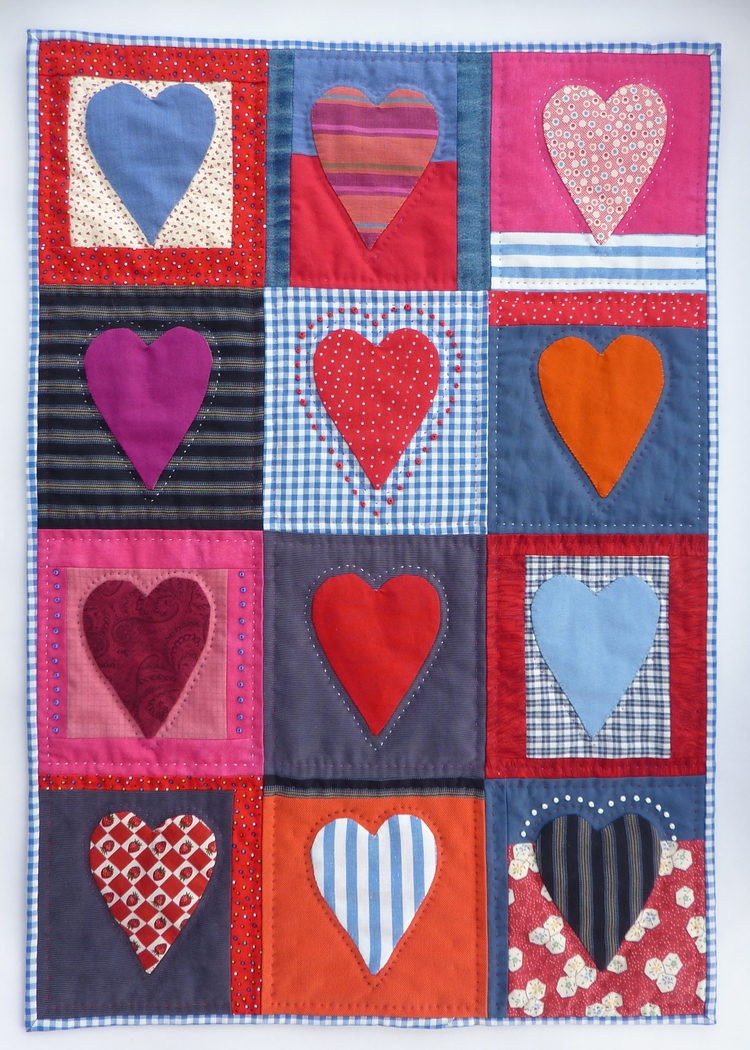 Twelve Hearts Wall Hanging Hand - firehorsetextiles | ello
