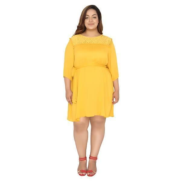 Lace Yoke Dark Yellow Dress - calae_plus_size_store | ello