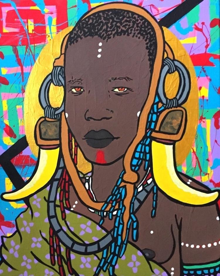 Mursi Tribe acrylic canvas, 16x - graffitiegypt_ | ello