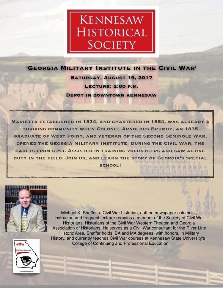Lecture tomorrow Depot Kennesaw - mscivilwar   ello