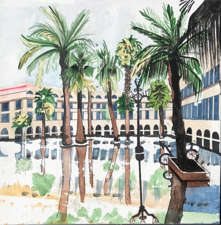 Barcelona - watercolor, mixedmedia - whitneysanford | ello