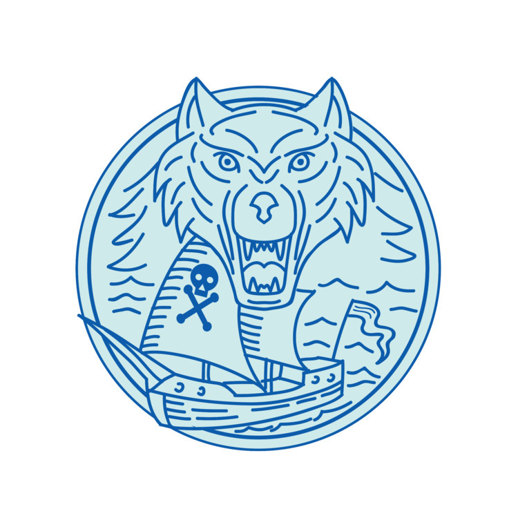 Mono Line - Seawolf, Pirate, Ship - patrimonio | ello