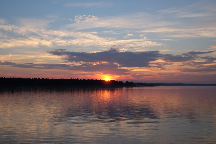 sunset, river, clouds, forest - navik_white | ello