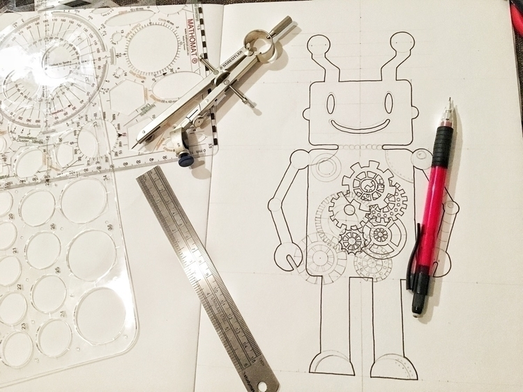happy dude!  - zentangle, robot - theetchingscollection | ello