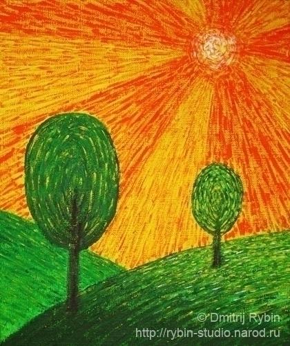 Orange sun - Landscape, energypainting - dmytroua | ello