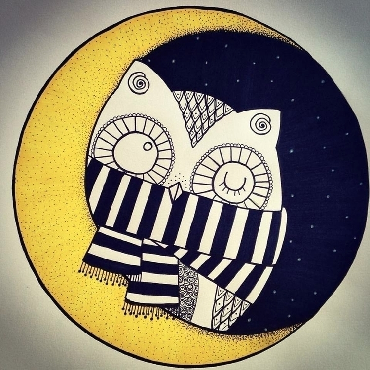 moon, moonlight, owl, illustration - antonellietta | ello