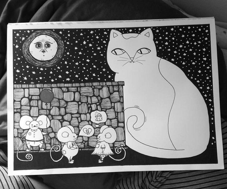 blackandwhite, illustration, moonlight - antonellietta | ello