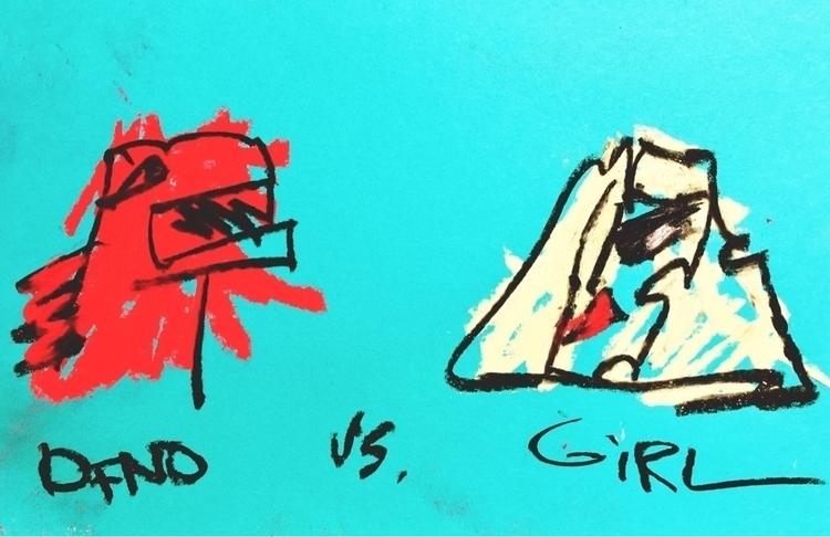 DINO GIRL - lofi, art, drawing, design - jkalamarz | ello