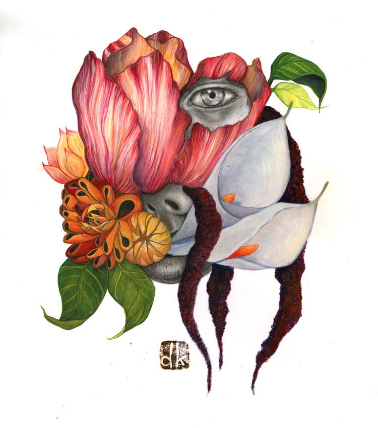 Bloom Pain, gouache graphite br - danikakristine | ello