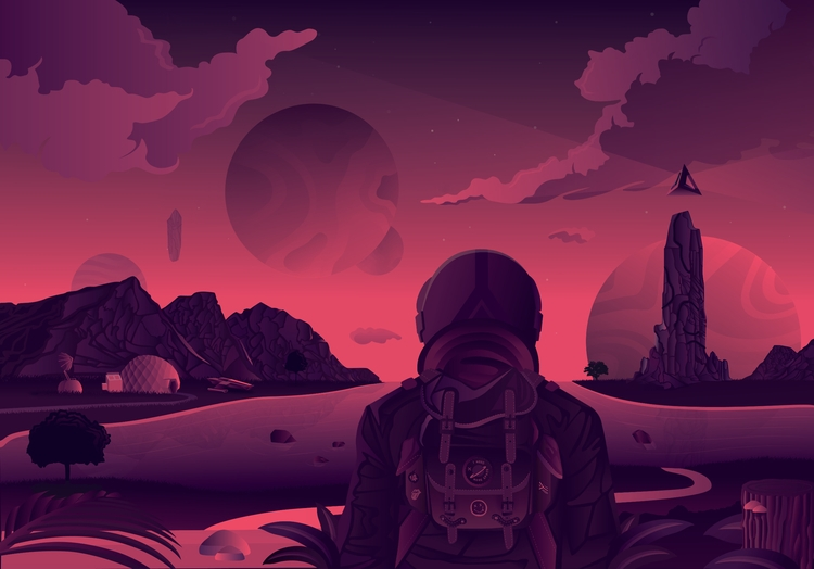 day left earth. Illustration up - kevinlawrie | ello