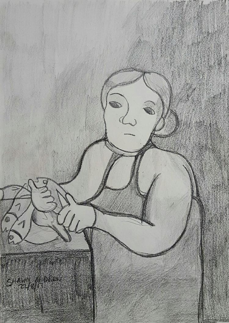 fishmonger - Lumocolor crayon p - shawnartist | ello