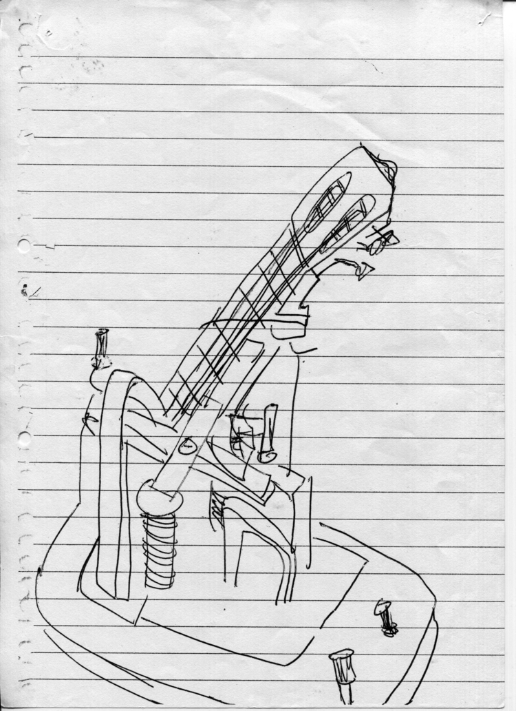 Guitar Machine Drawing. Scan BW - gfisher | ello