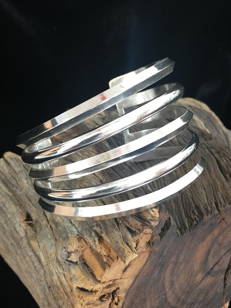 Large Sterling Silver cuff brac - desertnightsstudio | ello