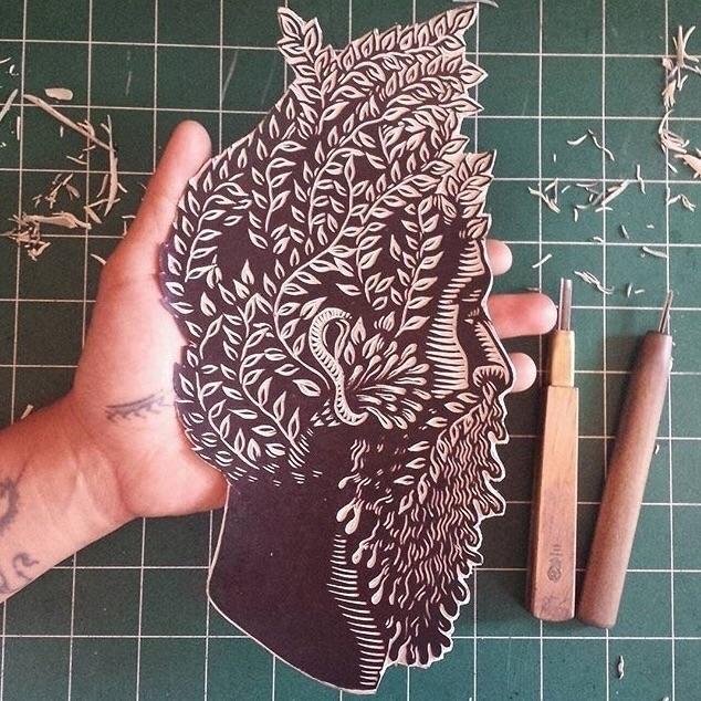 Carved portrait ent - printmaking - killchoy | ello
