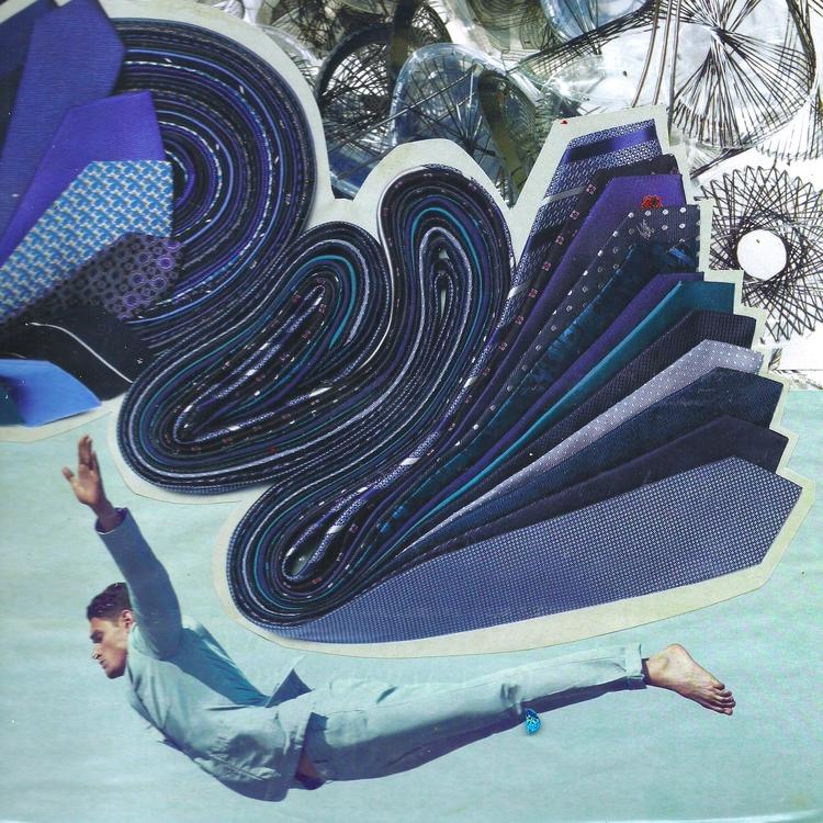 sketchbook, collage, blue, falling - arsdiutinus | ello