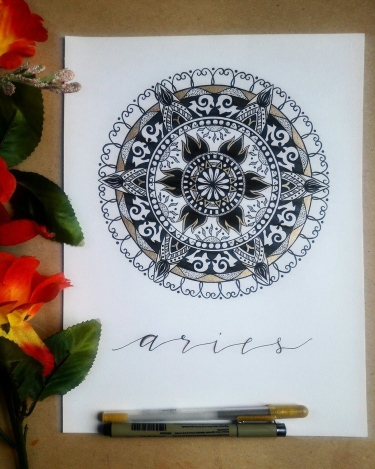 Added gold details mandala  - zodiac - thecreativecave | ello