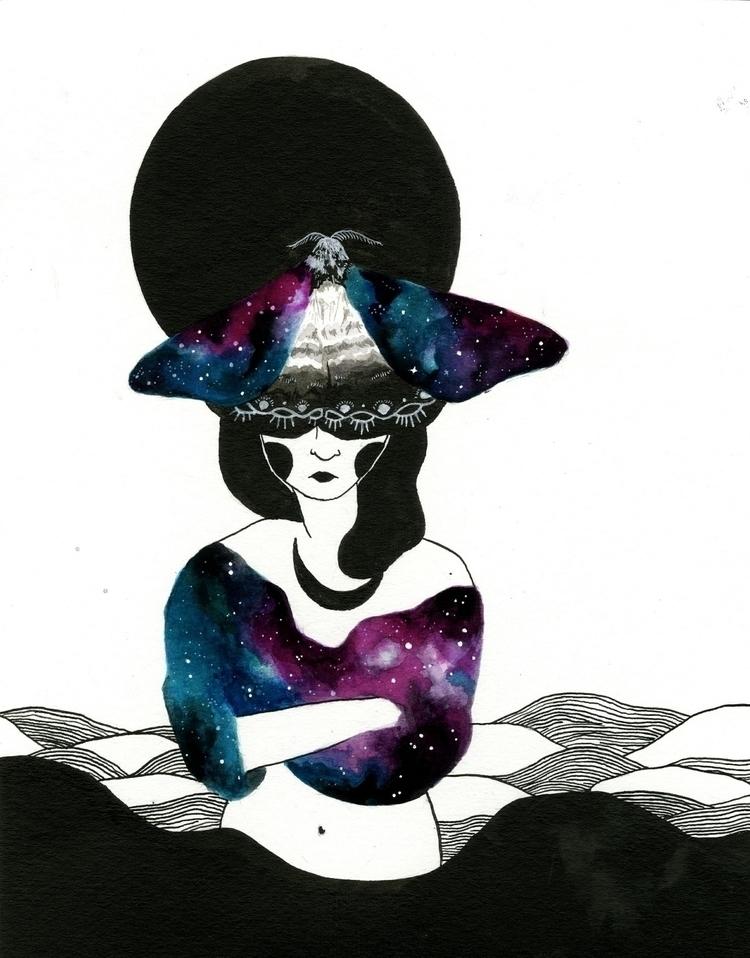 tired drowning sea - illustration - _hellsea | ello