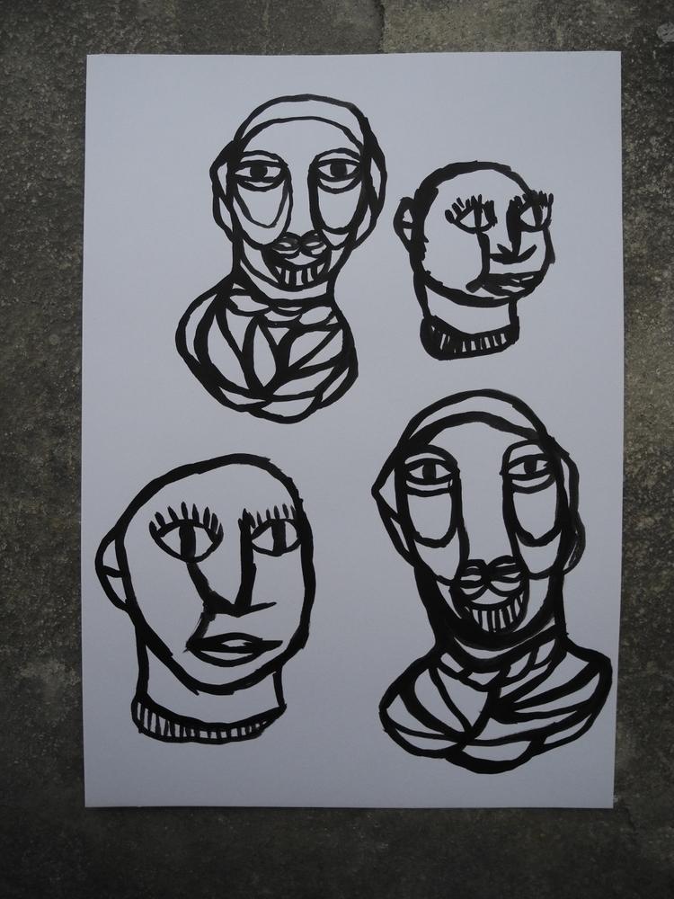 'Heads' Black ink, 5.8' 8.1' or - aurorerror | ello