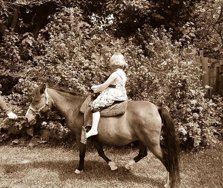 Birthday Pony Ride Karen Exiner - exinerartstudio | ello