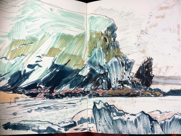 sketches Ceredigion coast, Wale - alexgreendraws | ello