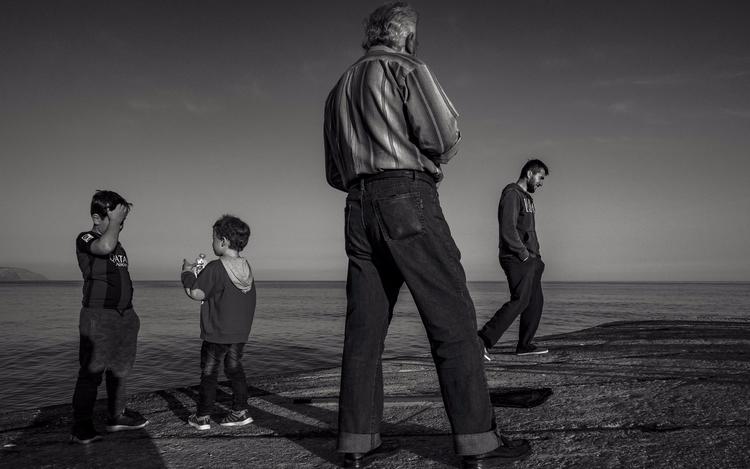 crete, greece, kids, men, sunset - julian_k | ello