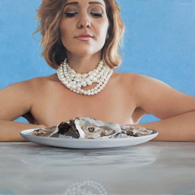 Stay calm eat oysters 24x24 oil - nadinerobbinsart | ello