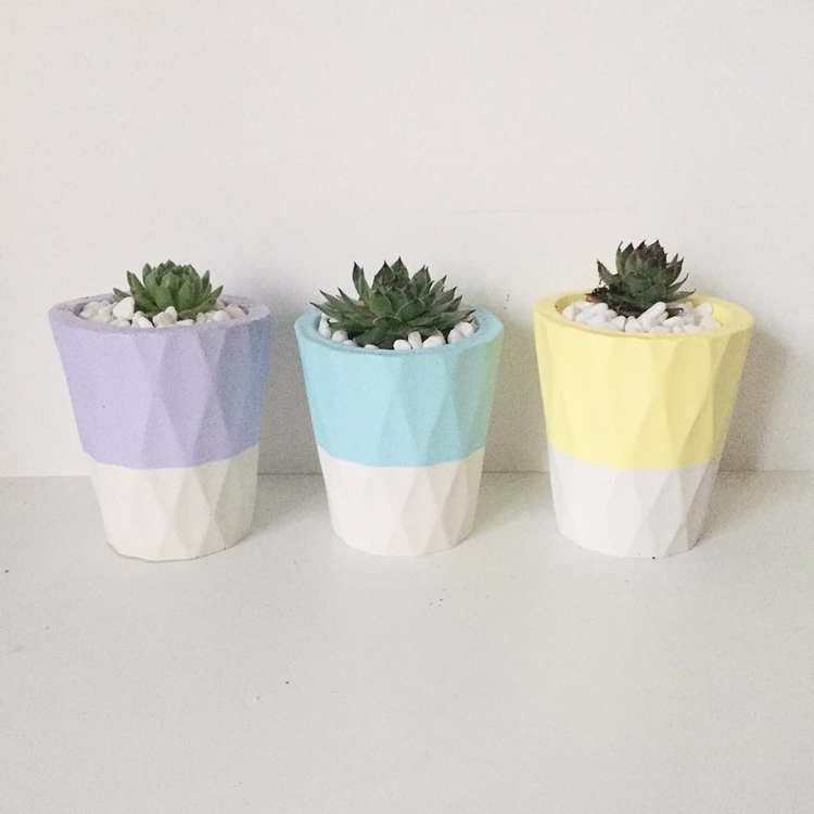 quilted concrete pots pastels - concretedecor - sweetyellowdecor | ello